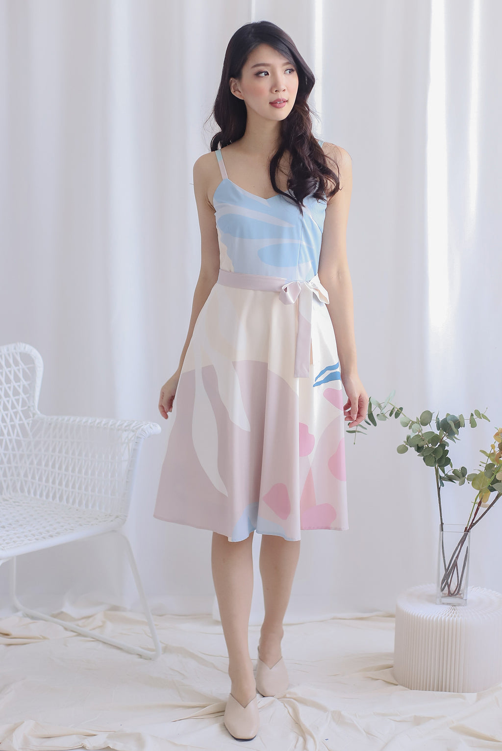 Jewelyn Abstract Flare Dress In Pastel