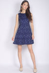 Jezabelle Prints Tiered Dress In Navy Blue
