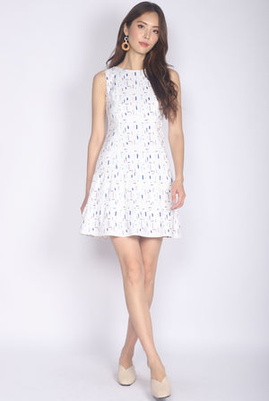 Jezabelle Prints Tiered Dress In White