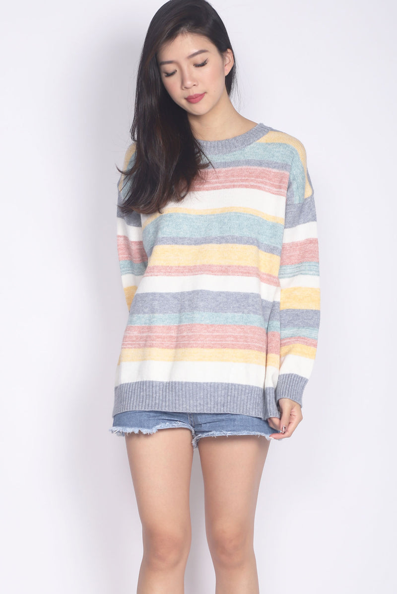 *Backorder* Jezebel Stripes Knitted Top In Blue