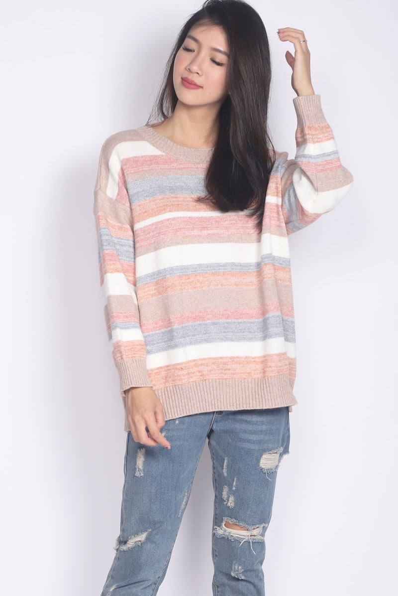 Jezebel Stripes Knitted Top In Pink