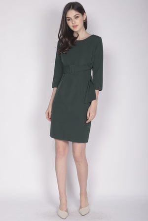 Jinger Belted Sleeve Dress In Forest Green