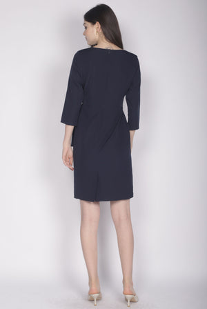 Jinger Belted Sleeve Dress In Navy Blue