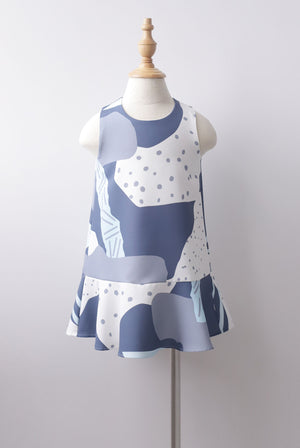 *Kids* Jodie Abstract Dots Drop Hem Dress In Blue
