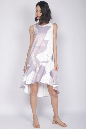 Jodie Abstract Dots Drop Hem Dress In Lilac