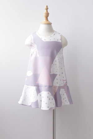 *Kids* Jodie Abstract Dots Drop Hem Dress In Lilac