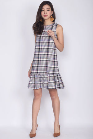 Jules Plaids Drop Waist Dress In Purple