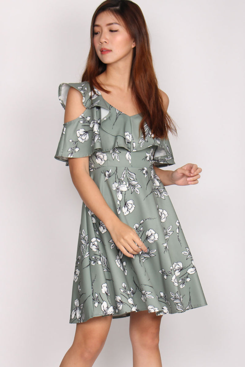 Juliette Sketch Floral Dress In Jade
