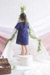 *Kids* Kacie Eyelet Sleeved Dress In Navy Blue