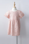 *Kids* Kacie Eyelet Sleeved Dress In Peach Pink
