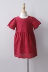*Kids* Kacie Eyelet Sleeved Dress In Red