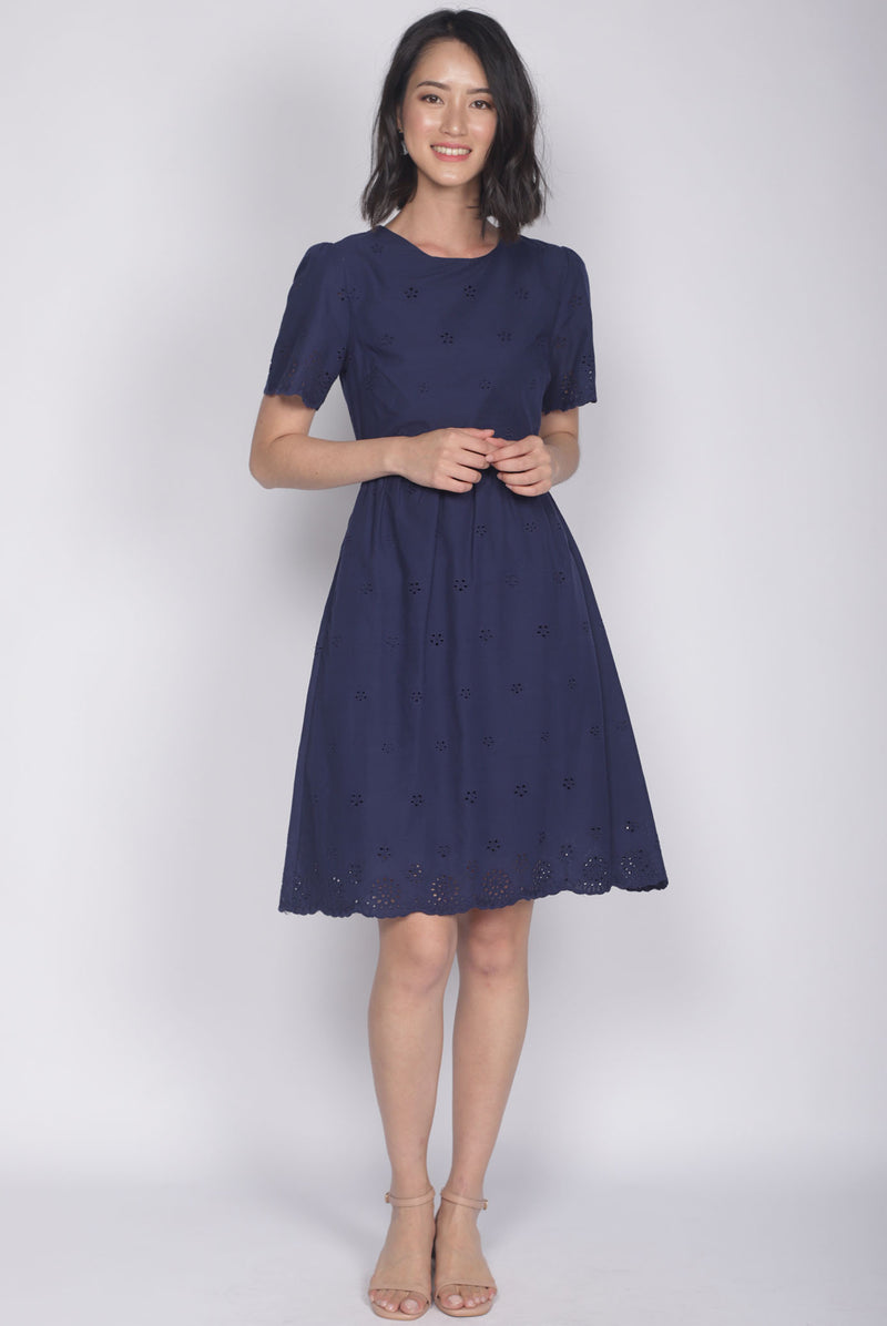 Kacie Eyelet Sleeved Dress In Navy Blue