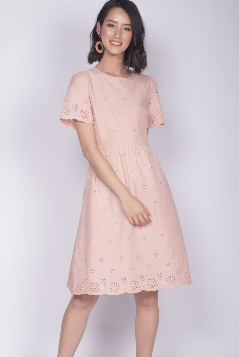 Kacie Eyelet Sleeved Dress In Peach Pink