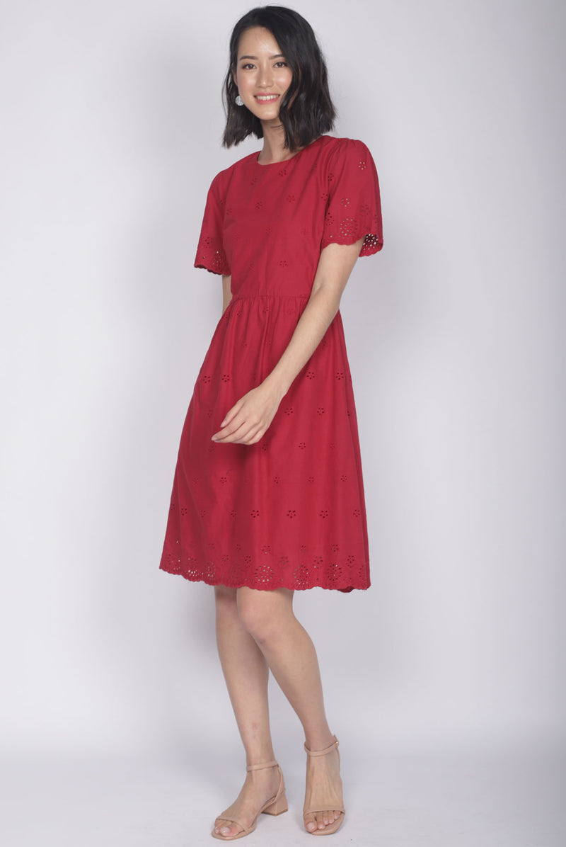 Kacie Eyelet Sleeved Dress In Red