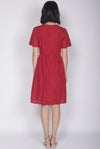 *Restocked* Kacie Eyelet Sleeved Dress In Red