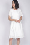 Kacie Eyelet Sleeved Dress In White