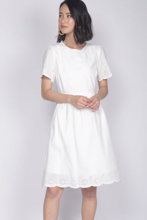 *Restocked* Kacie Eyelet Sleeved Dress In White
