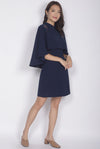 Kai Embro Cape Two Pcs Dress In Navy Blue
