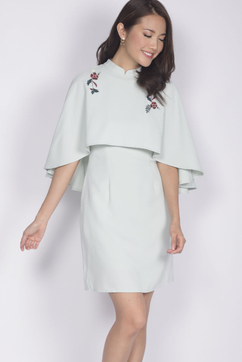 Kai Embro Cape Two Pcs Dress In Sage