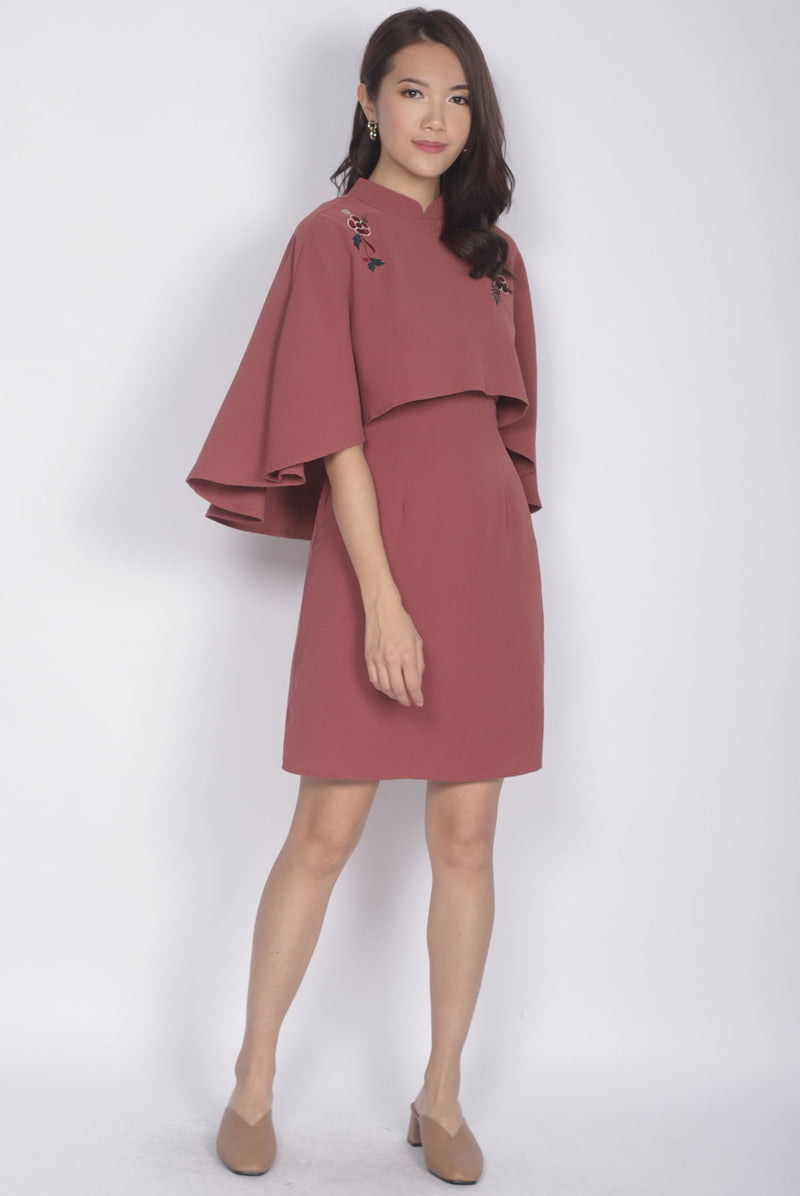 Kai Embro Cape Two Pcs Dress In Tea Rose