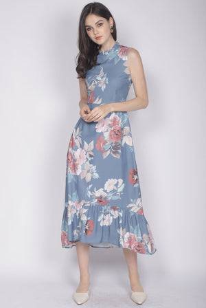 Kaidee Floral Removable Oriental Collar Dress In Blue