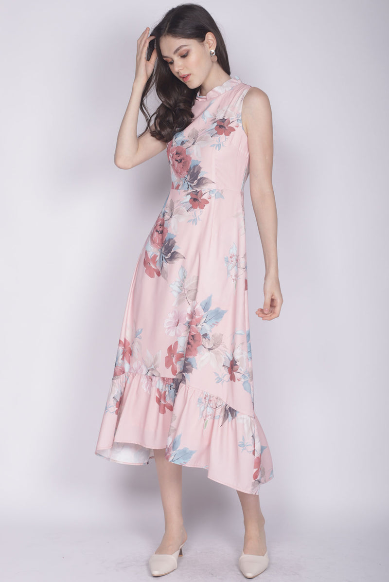 Kaidee Floral Removable Oriental Collar Dress In Pink