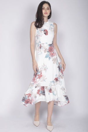 Kaidee Floral Removable Oriental Collar Dress In White