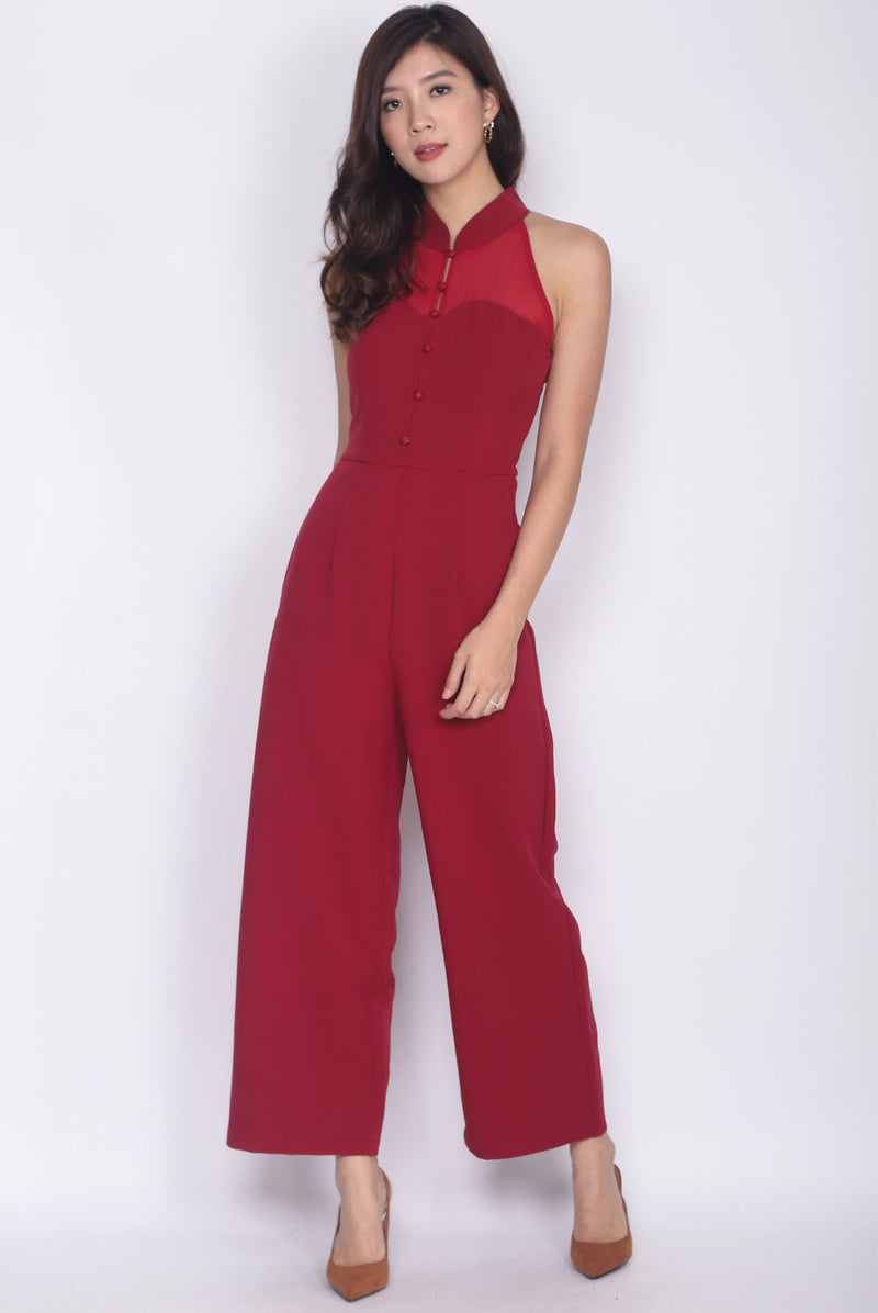 *Premium* Kalea High Collar Sweetheart Jumpsuit In Wine Red
