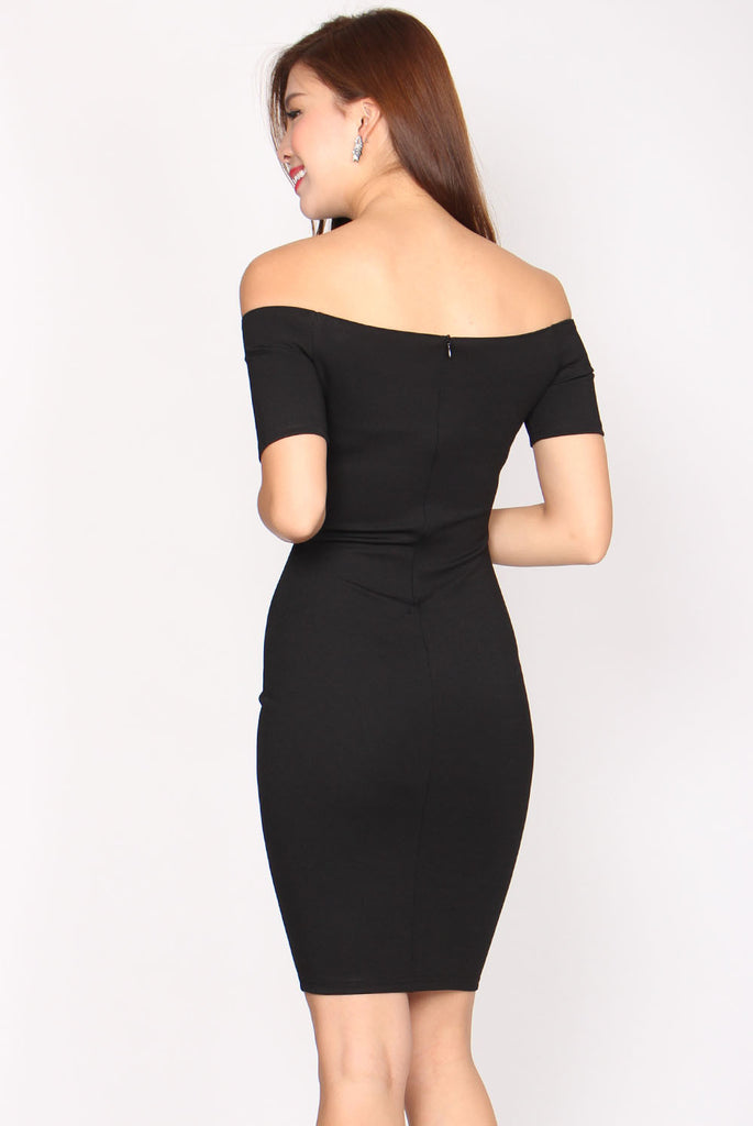 Kalea Off Shoulder Bodycon Dress In Black