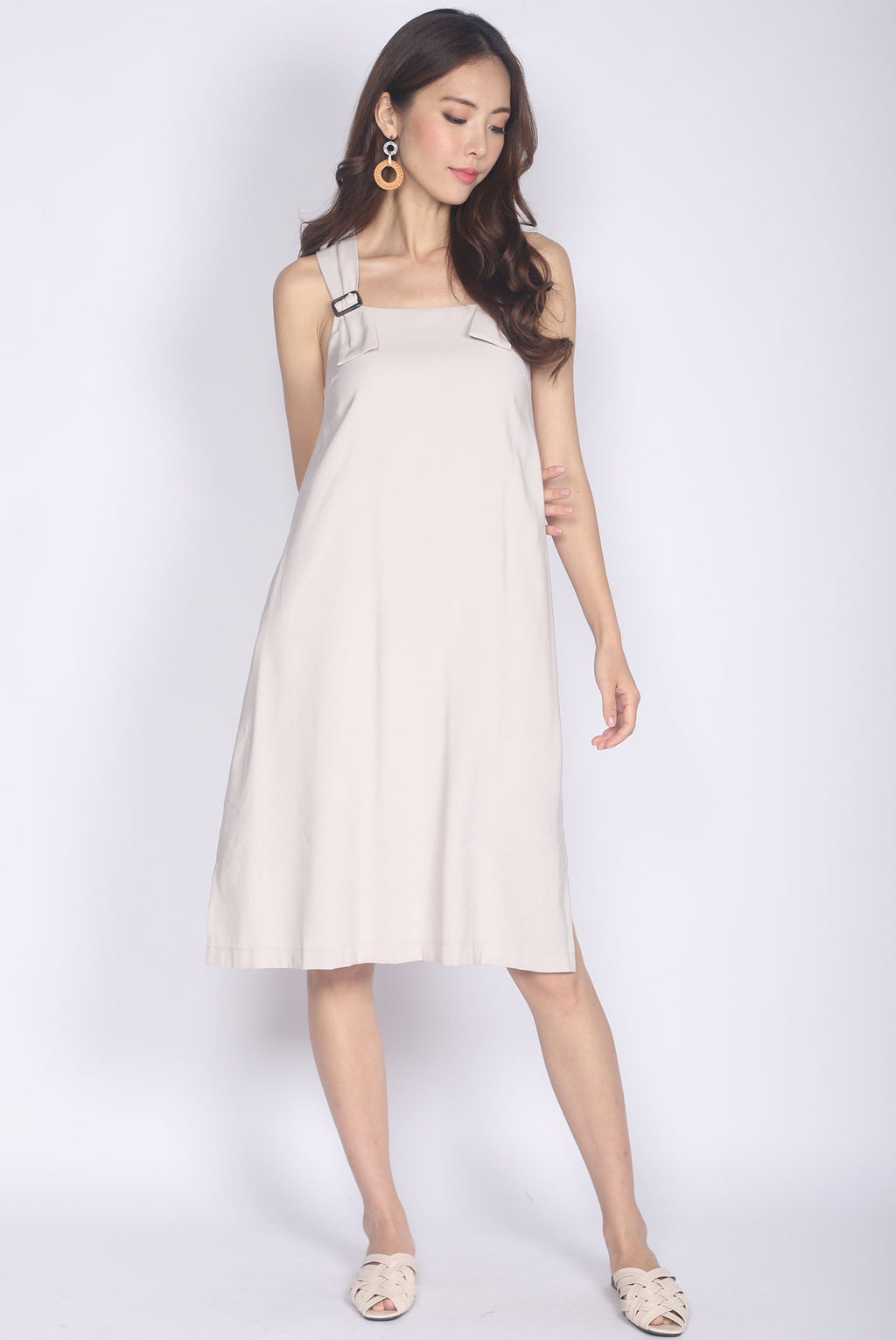 Kalera Buckle Shoulder Dress In Wheat