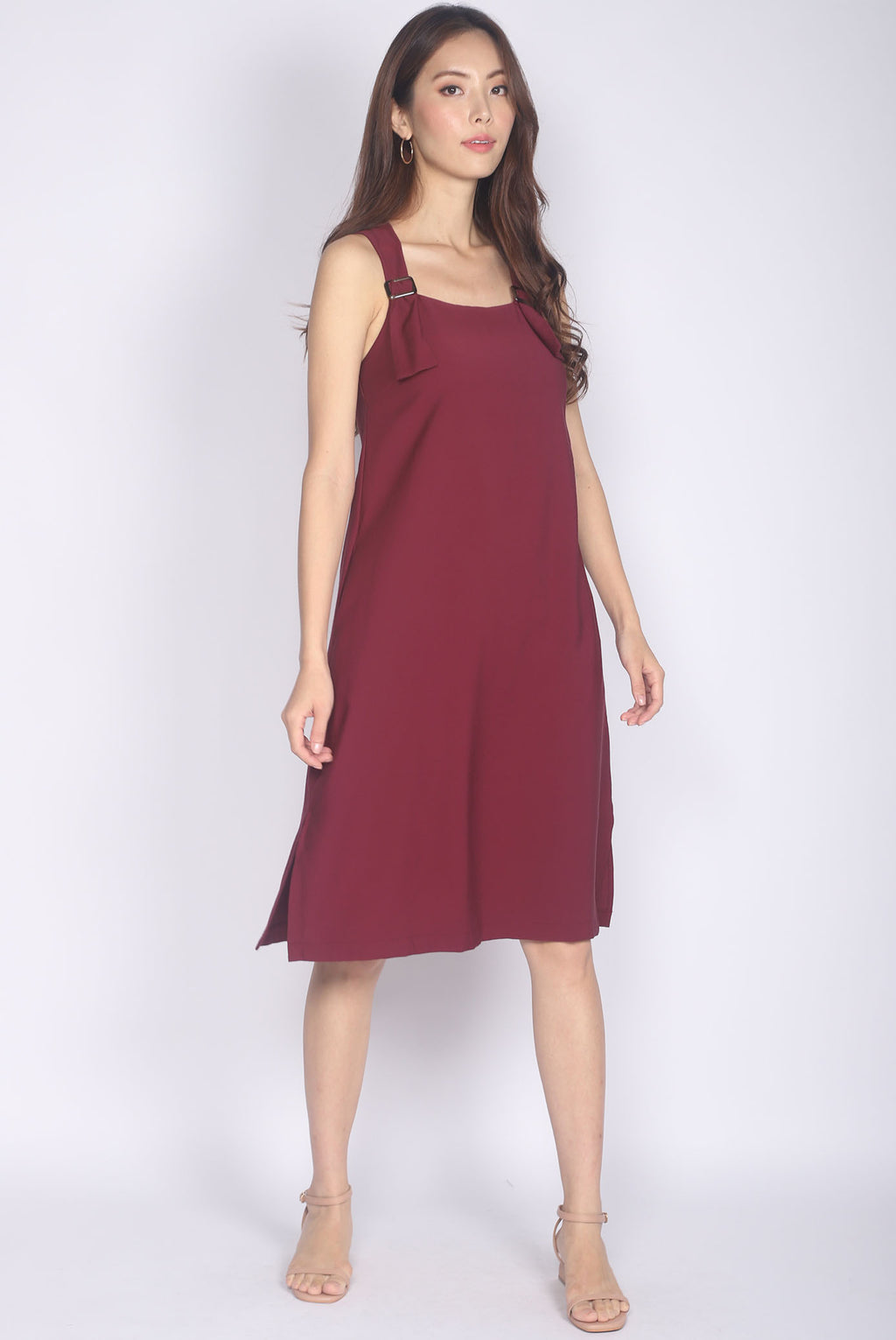 Kalera Buckle Shoulder Dress In Wine Red