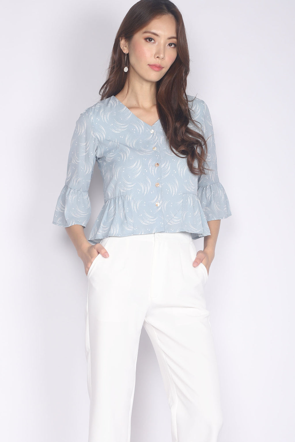 Kaori Bell Sleeve Buttons Top In Blue