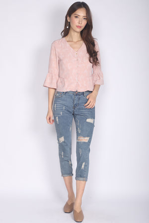 Kaori Bell Sleeve Buttons Top In Pink