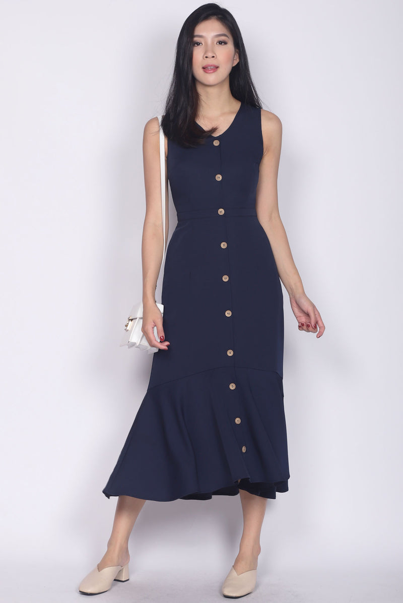 Karenna Buttons Fishtail Midi Dress In Navy Blue
