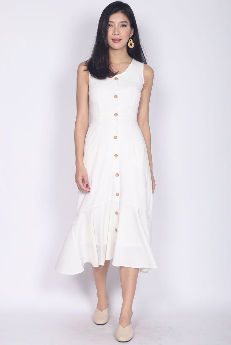 Karenna Buttons Fishtail Midi Dress In White