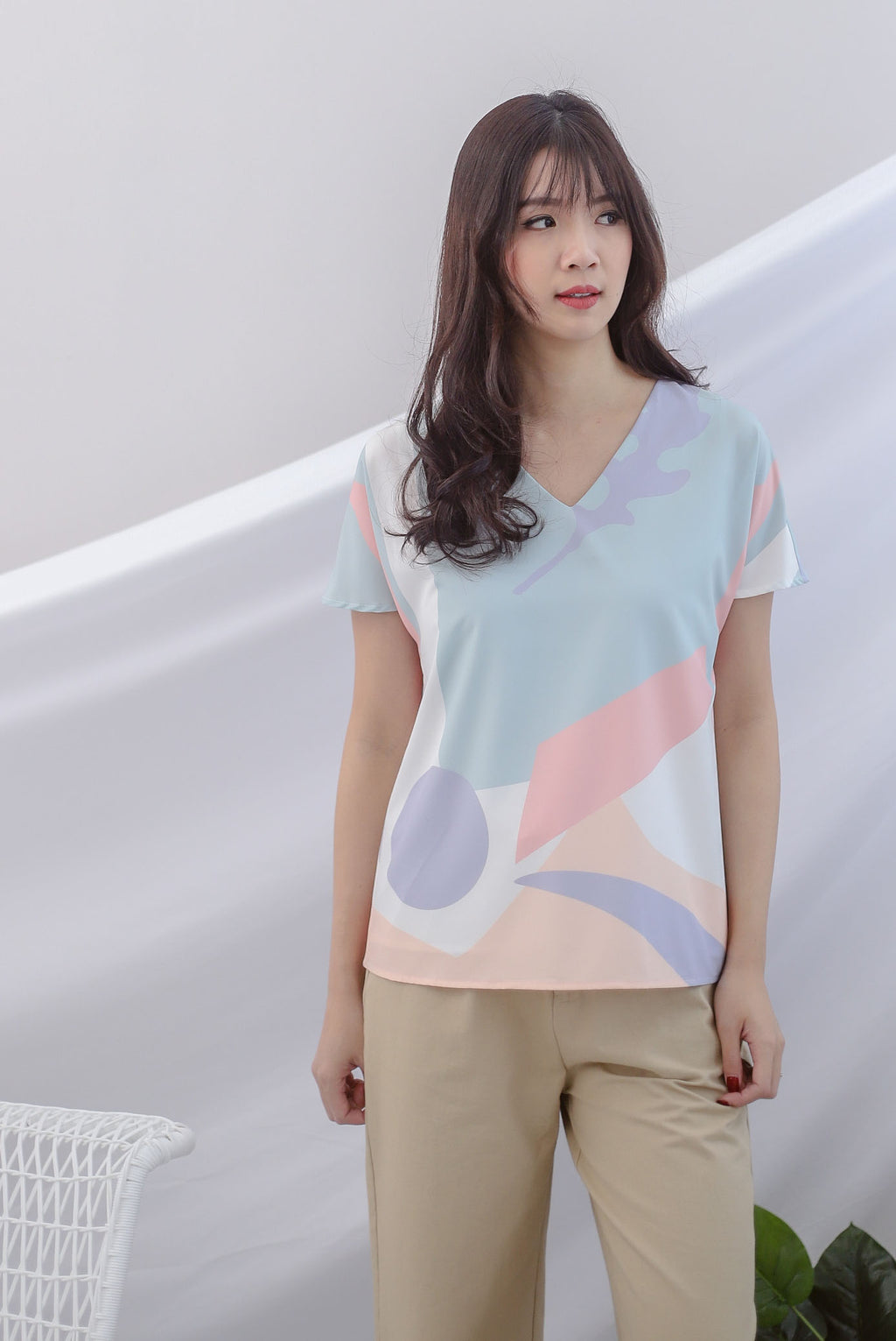 Karla Abstract Sleeved Top In Pastel