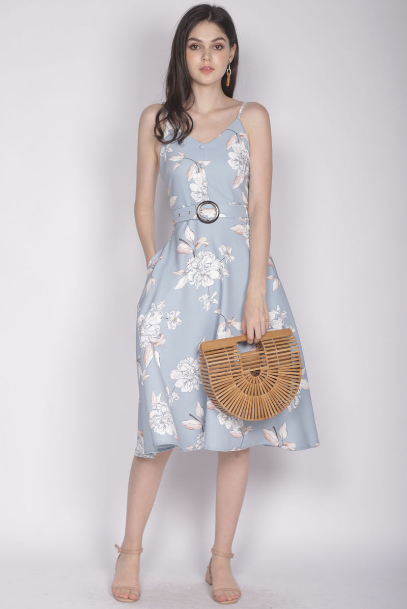 Karolin Buttons Floral Belted Dress In Skyblue