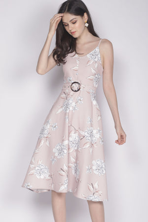 Karolin Buttons Floral Belted Dress In Blush
