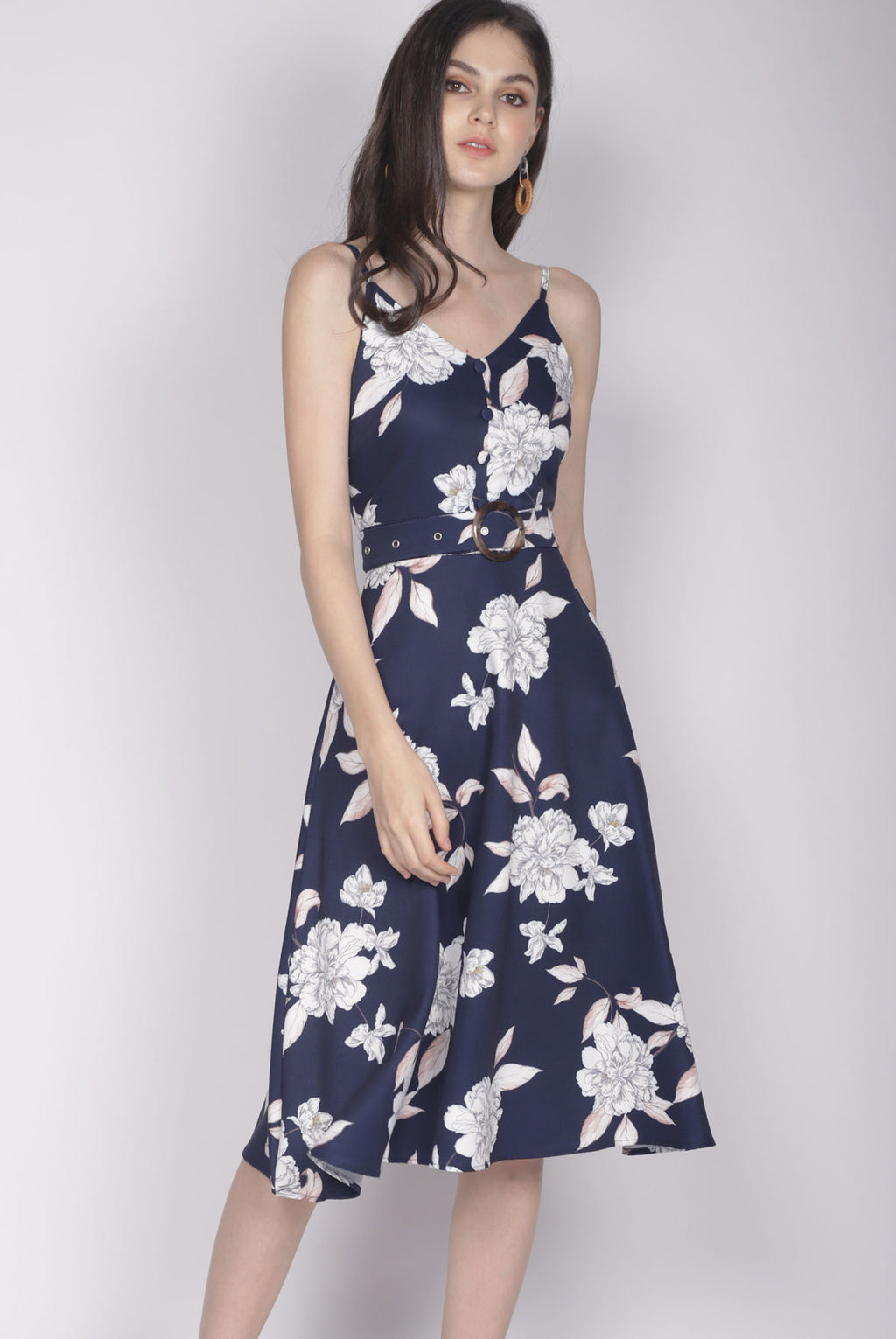 Karolin Buttons Floral Belted Dress In Navy Blue