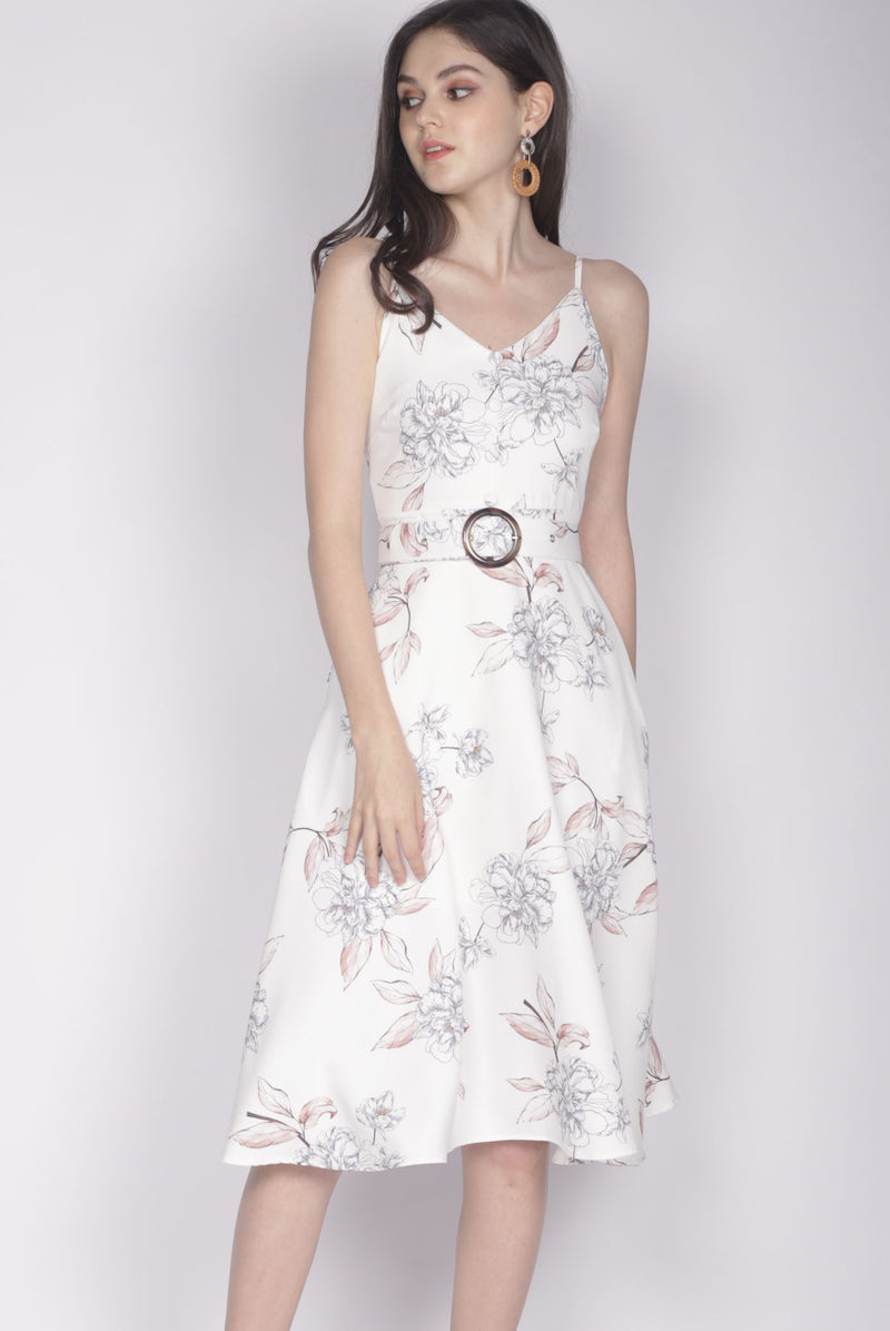 Karolin Buttons Floral Belted Dress In White