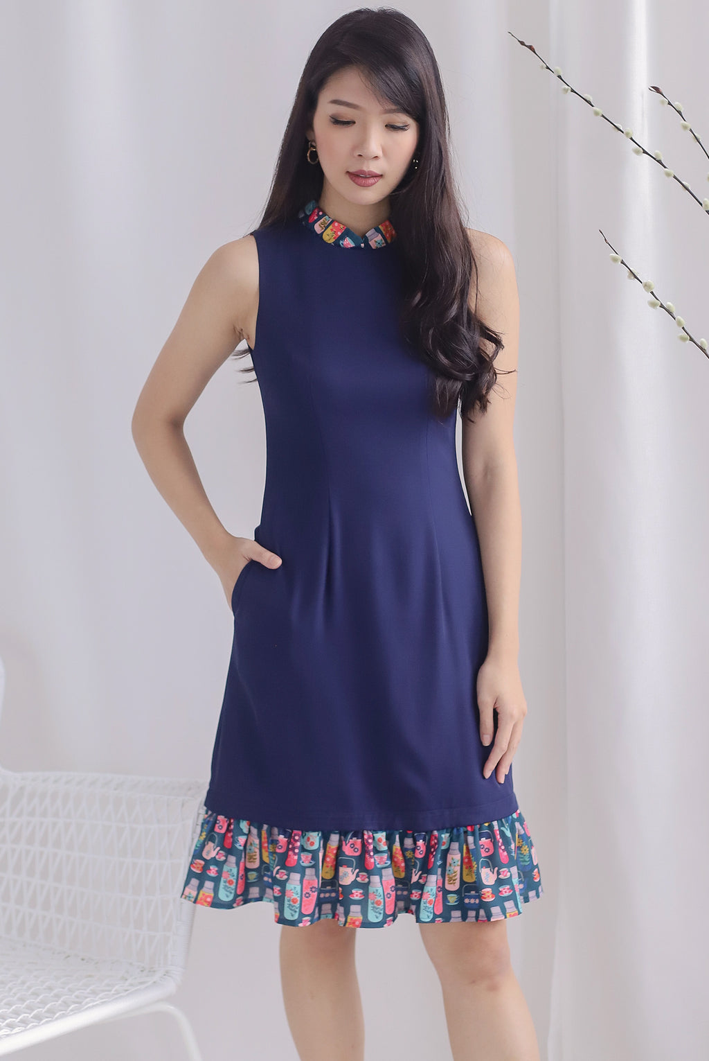 Karter Multi Ways Drop Hem Dress In Navy Blue