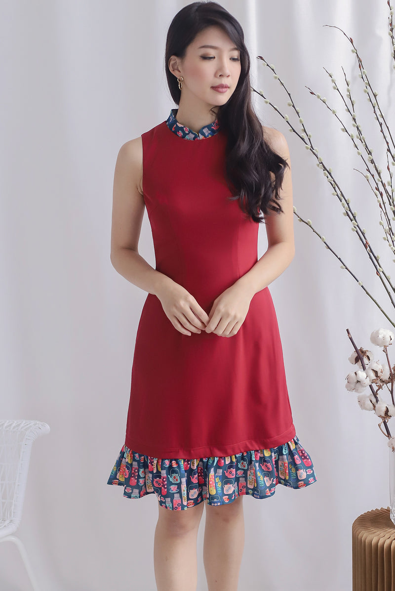 Karter Multi Ways Drop Hem Dress In Wine Red