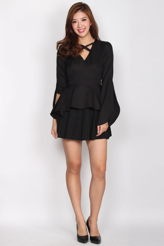Karynn Criss Front Bell Sleeve Top In Black