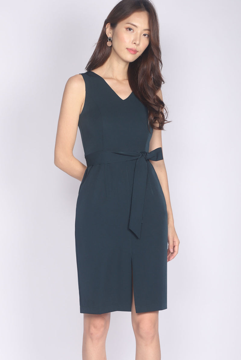 Kateri Slit Front Pencil Dress In Forest Green