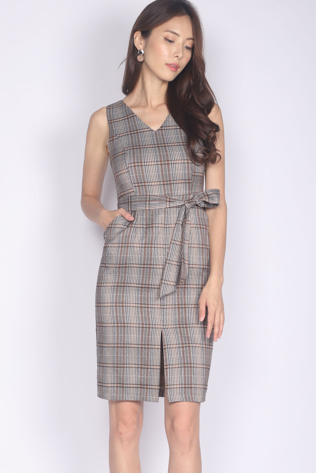 Kateri Slit Front Pencil Dress In Plaids