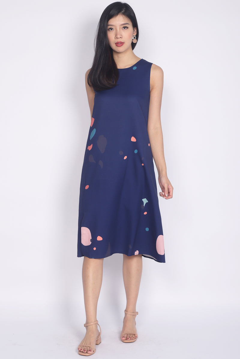 Keaton Abstract Front Slit Dress In Navy Blue