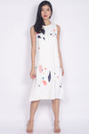 Keaton Abstract Front Slit Dress In White