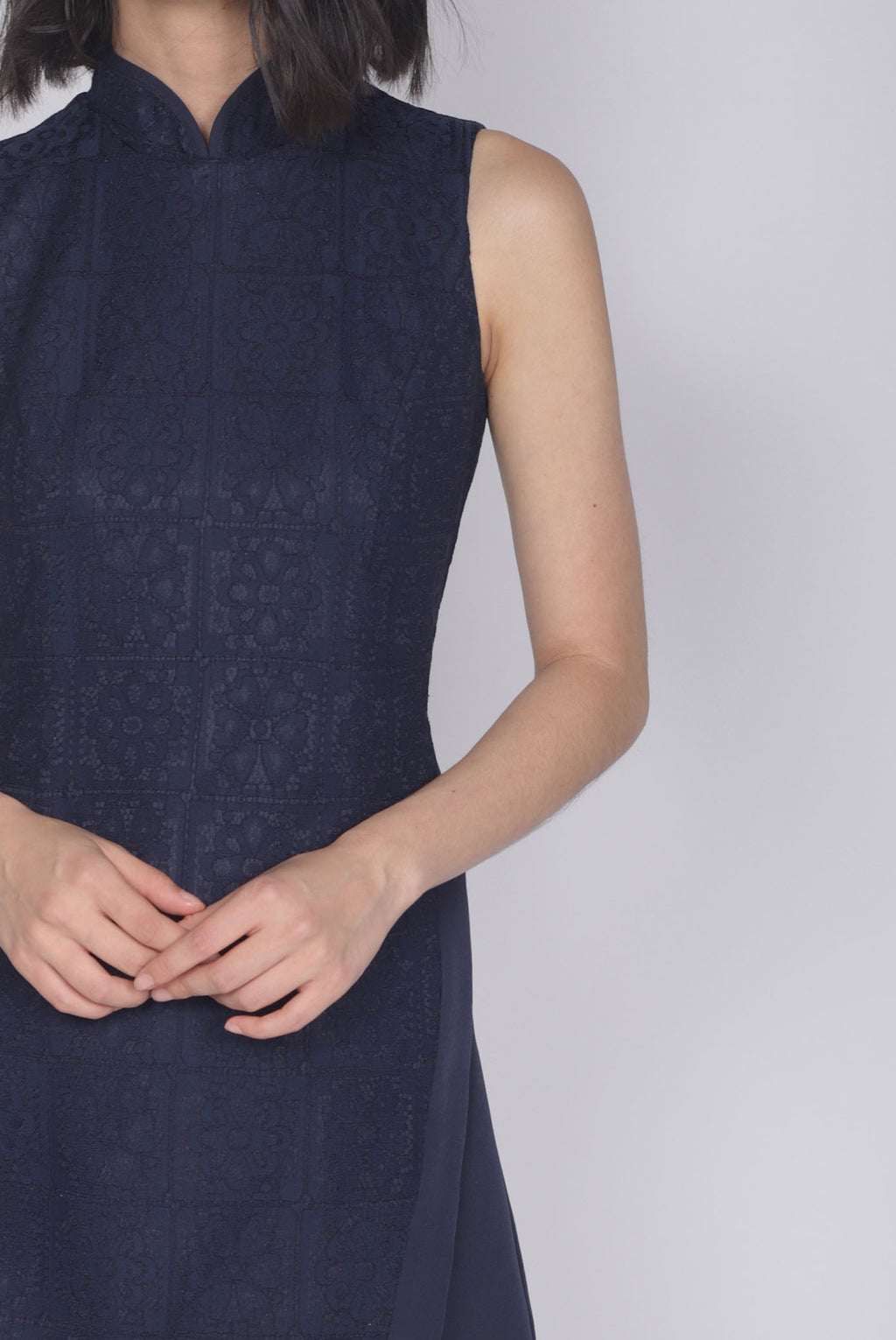 *Premium* Keelin Removable Oriental Collar Romper In Navy Blue
