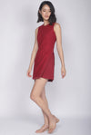 *Premium* Keelin Removable Oriental Collar Romper In Wine Red