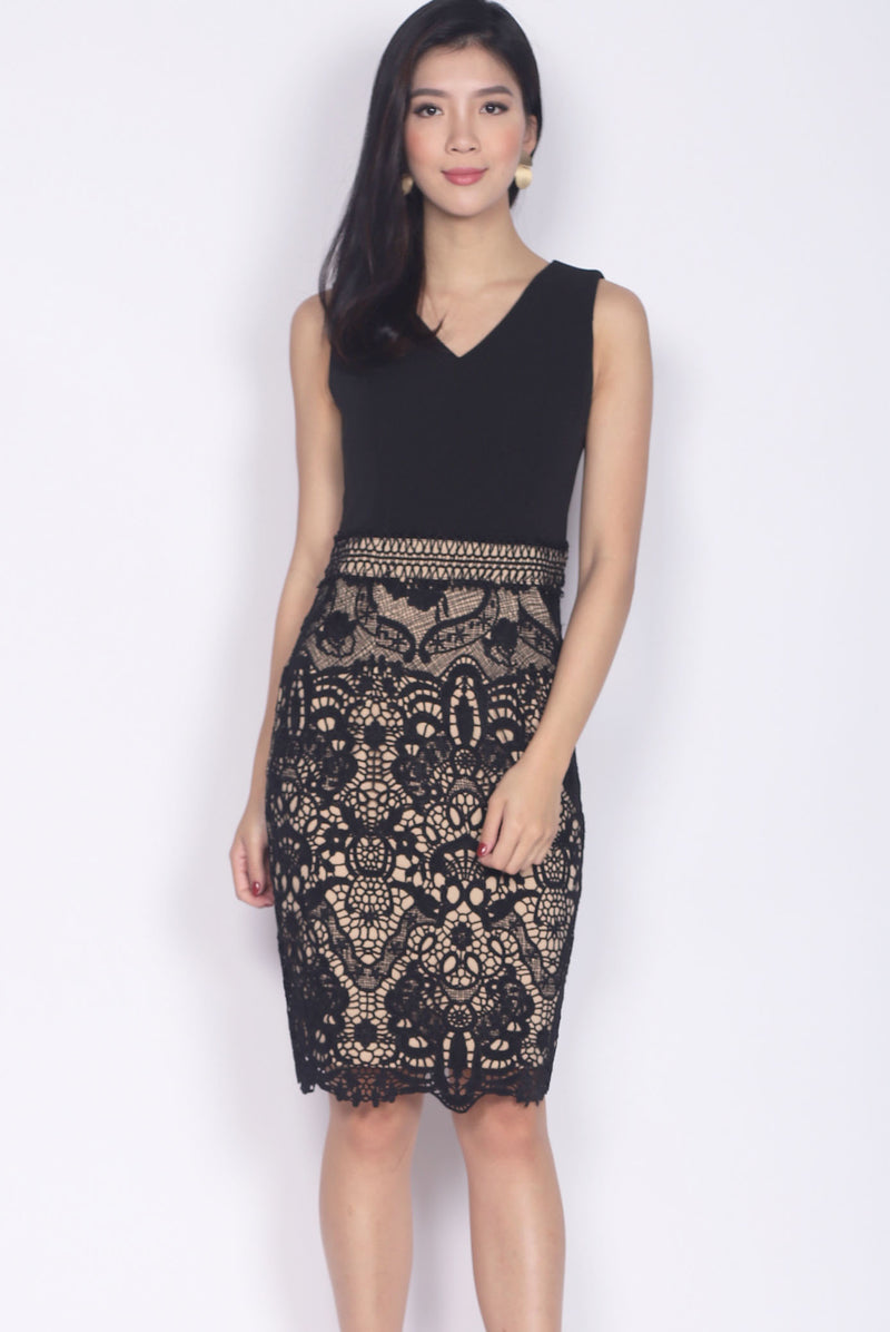 *Premium* Keiko Crochet Pencil Dress In Black